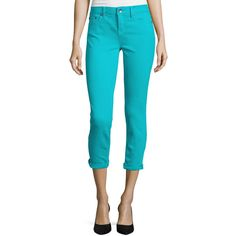 Stylus™ Roll-Cuff Skinny Ankle Jeans ($25) ❤ liked on Polyvore featuring jeans, teal jeans, light wash skinny jeans, teal skinny jeans, petite jeans and tall skinny jeans