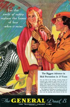 """General Tire Vintage Ad: """"Let the smile of safety replace the frown of fear- when it rains."""""""