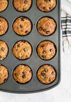 Lightened up banana chocolate chip muffins made with greek yogurt. Healthy Banana Muffins, Banana Chocolate Chip Muffins, Easy Healthy Breakfast, Chocolate Chips, Diabetic Muffins, Banana Pudding, Breakfast Ideas, Banana Bread, Focus Foods