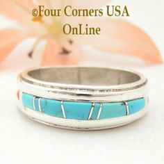 Four Corners USA Online - Size 7 1/2 Turquoise Inlay Ring Native American Wilbert Muskett Jr WB-1581, $135.00 (http://stores.fourcornersusaonline.com/size-7-1-2-turquoise-inlay-ring-native-american-wilbert-muskett-jr-wb-1581/)