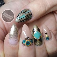 Instagram media by nailsbydanielle - Teal, gold, and nude!