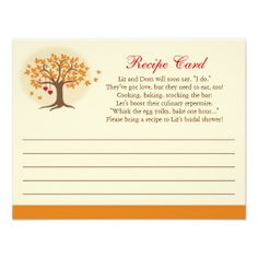 fall tree recipe card invitation invitation shower