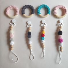 Crocheted Pacifier Clips -- Crocheted Teething Rings for Babies and Toddlers -- Dummy Clips and Binky Clips