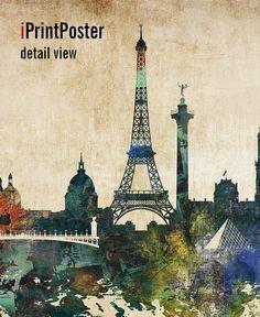 Paris abstract print Paris skyline Paris art print by iPrintPoster