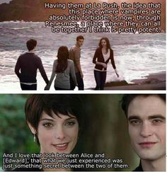 "OK, this sentiment is very nice, but if you read the books, you know that Alice can't see the future of Renesmee (or any other half-human/half-vamp) or werewolves like Jacob. She also couldn't see Edward or Bella if they were with creatures whose futures she can't see. So nice idea, but all I think when I watch this scene is ""fake vision""."