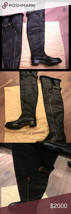 """Women's Louis Vuitton Knee Thigh Mink boots 9 10 WOW! New! Bought in Paris at LV. Extremely RARE! Mink lining! Gorgeous leather looks like crocodile almost. Amazing long gold zippers! Wonderful LV monogram straps! Size 41 equals 9-10. 1 1/2"""" heel. 24"""" shaft! Thigh highs! So sexy. So beautiful. So luxurious! Rare opportunity. Have the dust bag and box! 1,000,000 Authentic Louis Vuitton Shoes Over the Knee Boots"""