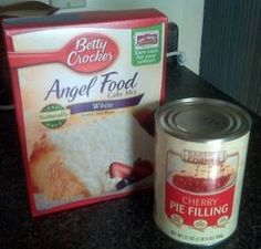 "2 ingredient dessert, ""Angel Fruit Pie"". Angel food cake mix + pie filling = Happy Husband. ^_^"
