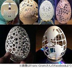 """幻想的で繊細""""卵の殻""""アート、1作品平均3,000個の穴で図柄を表現。"""