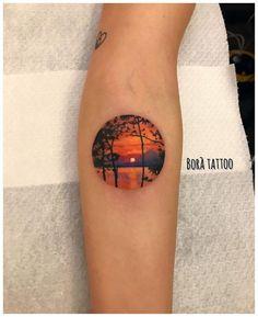 Landscape Tattoo Sleeve Nature Beautiful 61 New Ideas Sleeve Tattoos For Women, Tattoos For Women Small, Small Tattoos, Sunrise Tattoo, Sunset Tattoos, Life Tattoos, Body Art Tattoos, Tatoos, Landscape Tattoo
