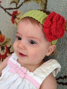 Headband  Knit Baby Headband  Crochet Flower by AntikaModa on Etsy, $16.00