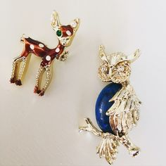 Host Pick Owl + Deer Brooches Cute brooches! Never used. Jewelry Brooches