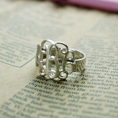 white gold Cut Out 3 Initials Monogram Ring by NameplateNecklace
