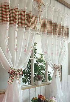 25 Creative Ideas for Modern Decor with Beautiful Kitchen Curtains Curtains Behind Bed, No Sew Curtains, Curtain Styles, Curtain Designs, Rideaux Du Bow Window, Cortinas Country, Luxury Curtains, Beautiful Curtains, Country Curtains