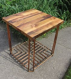 "Reclaimed Old Growth 2x4 & Copper Pipe End Table by Paul Segedin & Urban Prairie Design, Chicago, Illinois.  ~ 26"" high x 24 ""wide x 24"" deep. Table features a distinctive cross-patterned copper pipe lower shelf with 136 soldered joints. This table has been sold, but get in touch and we'll make another!"