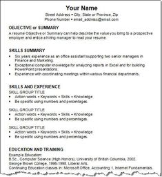 how to write a resume for the first time first resume template objective or summary skills summary skills and experience education and training - How To Write A Resume For The First Time