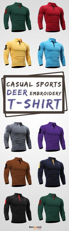 US$9.99 + Free shipping. Size: S~XL. Color: White, Black, Navy, Sky Blue, Red, Dark Gray, Purple, Coffee, Yellow, Green. Fall in love with casual and sports style! Fashion Deer Embroidered T-shirt Men\'s Casual Solid Color Slim Fit Long Sleeved T-shirt. #mens #shirts