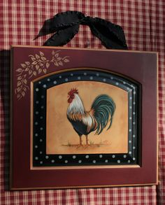 Red, black and yellow for living room colors. Decoupage French Country Rooster on a repurposed cabinet door? Rooster Kitchen Decor, Rooster Decor, Rooster Art, French Country Kitchens, French Country Style, Modern Country, French Decor, French Country Decorating, Chickens And Roosters