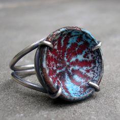 Little enamel bowls set in rings