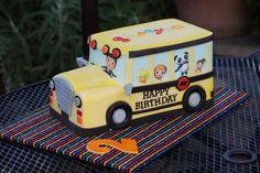 Bus shaped birthday cake