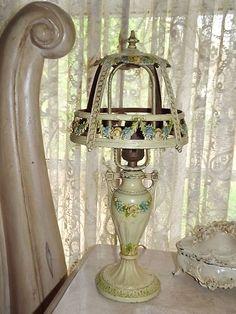 Romantic Barbola Swags Roses Metal Cream Enamel Mushroom Boudoir Table Lamp | eBay