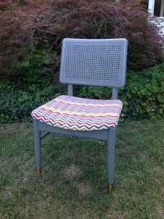 Charcoal gray vintage chair with corduroy chevron