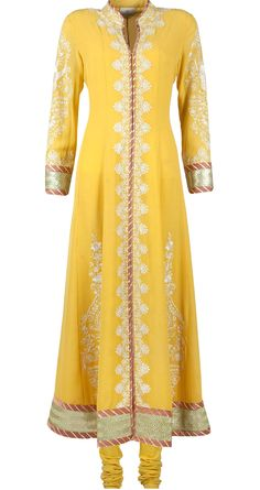 Yellow embroidered anarkali available only at Pernia's Pop-Up Shop.