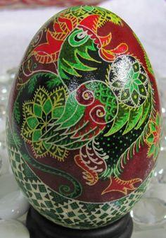 Goose Egg Pysanka by Katrina Lazarev - I love chickens!