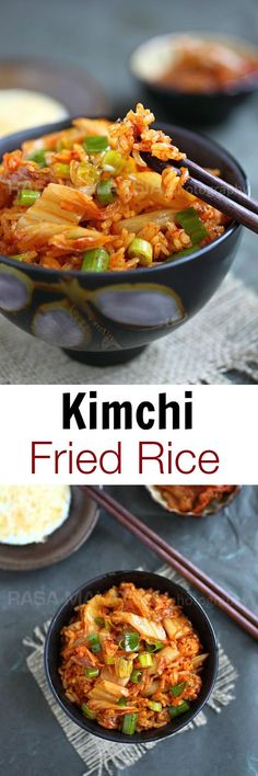 Kimchi Fried Rice - the easiest and most delicious fried rice EVER! Made with ki. food rice Kimchi Fried Rice - the easiest and most delicious fried rice EVER! Made with ki. Easy Delicious Recipes, Yummy Food, Healthy Recipes, Healthy Food, Rice Recipes, Cooking Recipes, Kimchi Recipe, Recipe For Kimchi Fried Rice, Recipes With Kimchi