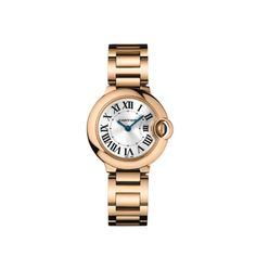 BALLON BLEU DE CARTIER WATCH, 28 MM Quartz, pink gold, sapphire REF: W69002Z2 Floating like a balloon and as blue as the sapphire safely nestled in its side, the Ballon Bleu watch by Cartier adds a dash of elegance to male and female wrists alike. Roman numerals are guided on their path by a sapphire cabochon winding mechanism protected by an arc of precious metal. With The convex curves of the case, guilloché dial, sword-shaped hands, and polished or satin-finish links of the bracelet.