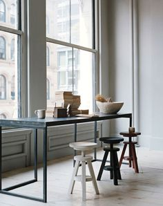 Rustic / industrial dining table + stools