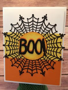 Halloween Card using Stampin' Up!'s Spider Web Doilies, Black Glimmer Paper, and Boo to You Framelits! Instructions on the blog: www.stampwithjennifer.blogspot.com