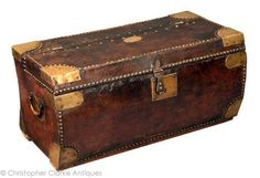18th century british officers leather chest W. Grieve Surgeon of the 77th regiment 1790 Mysore & Seringapatam 1799. It has17 marked on the chest which would of meant at the time the officer would of had at least 17 individual pieces of luggage.