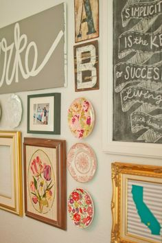7 Tips for STELLAR Gallery Walls! For real though, I have enough things already that I could totally make this work. What would you guys think about a gallery wall? With each of our letters and special sayings or items that are important to each of us included. We definitely have enough wall space!