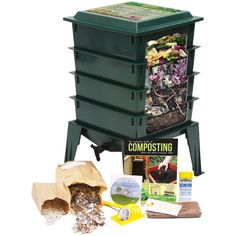 Worm Factory 360 Worm Composting Bin Bonus What Can Red Wigglers Eat Infographic Refrigerator Magnet Black Vermicomposting Container System Live Worm Farm Starter Kit for Kids Adults *** Check out this great product. Compost Tea, Garden Compost, Worm Composting, Composting Methods, Garden Soil, Garden Seeds, Vegetable Garden, Garden Landscaping, Organic Fertilizer