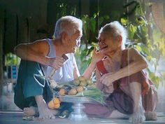Happiness is when what you think, what you say, and what you do are in harmony. Mahatma Gandhi Some cause happiness wherever they go; I Smile, Your Smile, Make Me Smile, Charlie Chaplin, Okinawa, Growing Old Together, Grow Old With Me, Old Couples, Elderly Couples