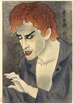 Morita Kan'ya XIII as Jean Valjean  by Yamamura Toyonari, 1921  (published by Watanabe Shozaburo)