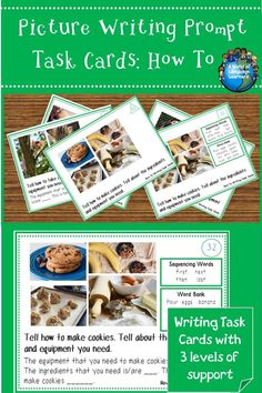 Picture writing prompts task cards with brightly colored photographs.  Tell how to do an activity or make a dish.  The cards are differentiated and come with sentence frames, word banks, and transition words. Great for ELL students or struggling writers in a literacy center. #writingprompt #writinginspiration #esl #esol #LanguageArts #languagelearning #language #languageteacher #tpt #teacherspayteachers #howto #information