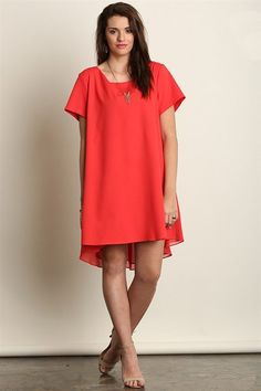 This A-line dress is perfect is so many ways! It's casual and contemporary but yet you can dress it up in a minute with high heels and a beautiful statement necklace. Red adds color and also that goes