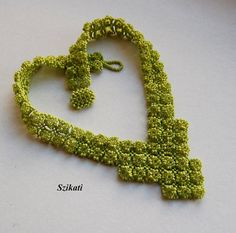 FREE SHIPPING Green Seed Bead Statement Bib Necklace by Szikati