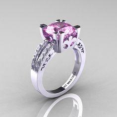 Moderno Vintage 14K oro blanco 3,0 quilates diamante Zafiro Rosa luz solitario anillo R102-14KWGDLPS
