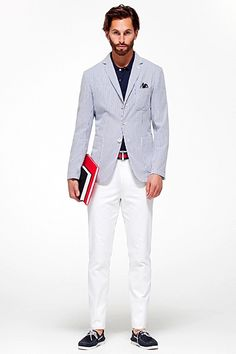Seersucker Jacket, White Chinos, Red & Blue Ribbon Belt, & Navy Boat Shoes. Men's Spring Summer Fashion.