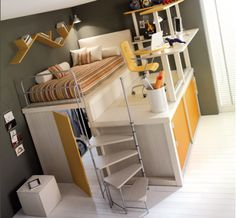 If my child's room is ever tight on space, SO building this! Bed, desk, and closet all in one!!! Awesome!