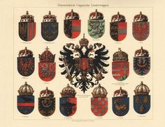 Austro-Hungarian Coats of Arms. Decorative Chromo lithograph from Collect at Curioshop on Ruby Lane Antique Maps, Antique Prints, Kaiser Franz, Double Headed Eagle, Austro Hungarian, Family Crest, Crests, Roman Empire, Coat Of Arms