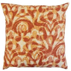 The Pillow Collection Coretta Ikat Bedding Sham Size: King, Color: Persimmon