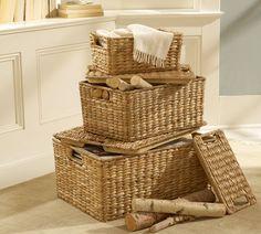 powder room shelves | Savannah Lidded Basket, Small | pottery barn $19