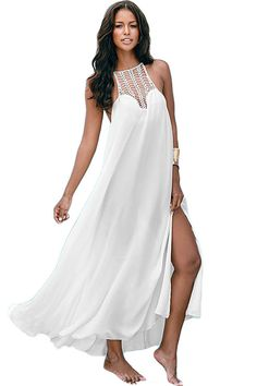 €14.58 @Modebuy #modebuy  Robes De Plage Pur Blanc Maxi Crochet Buste Ete #tbt #comment #followher #liker #comment4comment #shoutout #following #femme #photooftheday #f4f #style #likeall #followalways