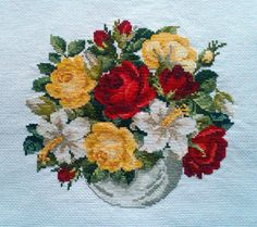 """Completed Cross Stitch 100% Hand-made Design count: 120sts wide X 111sts high  Fabric Size: 42cm X 39cm / Inch: 16"""" X 15""""  Fabric: 11-count white aida"""
