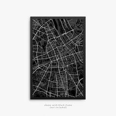 Warsaw Street Map Warsaw Poland Modern Art Print by JurqStudio