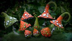 Rustic orange khaki magic polymer clay toadstool Home