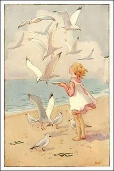 > how I loved feeding the seagulls after everyone left the beach (when I was a child).